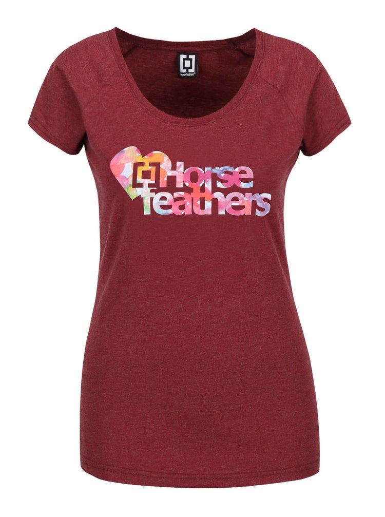 Vínové dámské žíhané tričko s barevným nápisem Horsefeathers Piece