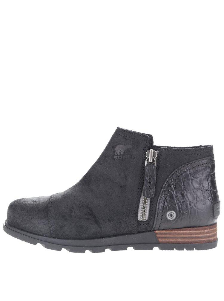 Čierne dámske kožené členkové topánky SOREL Major Low