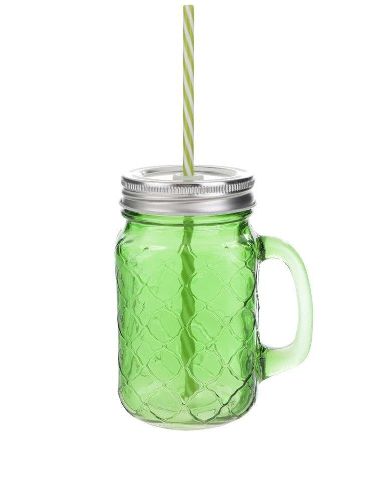 Zelený uzatvárateľný pohár so slamkou Kitchen Craft