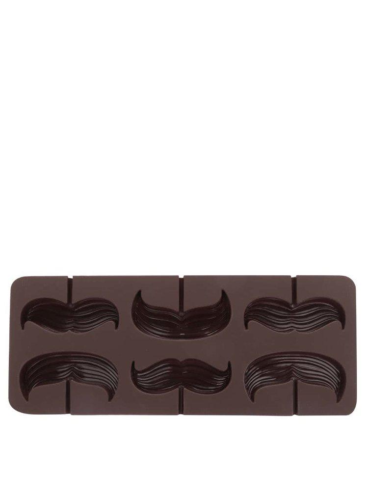 Hnedá silikónová forma na výrobu lízaniek v tvare fúzov Kitchen Craft