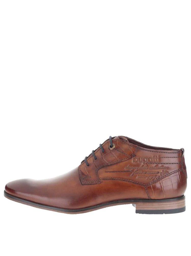 Hnedé pánske kožené členkové topánky bugatti Remigio