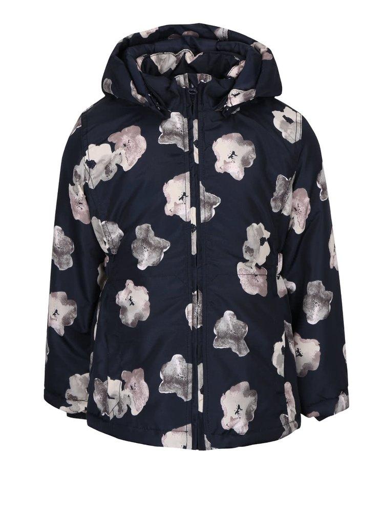 Tmavomodrá dievčenská bunda s potlačou kvetín name it Mello