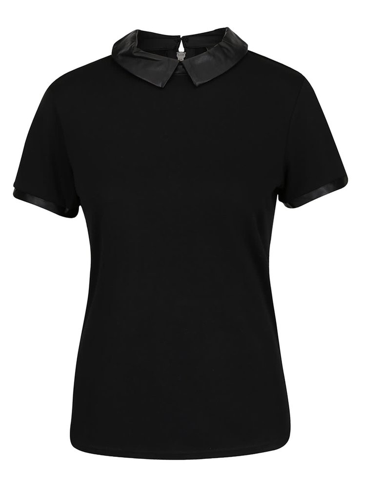 Tricou negru VILA Tinny cu guler ascuțit
