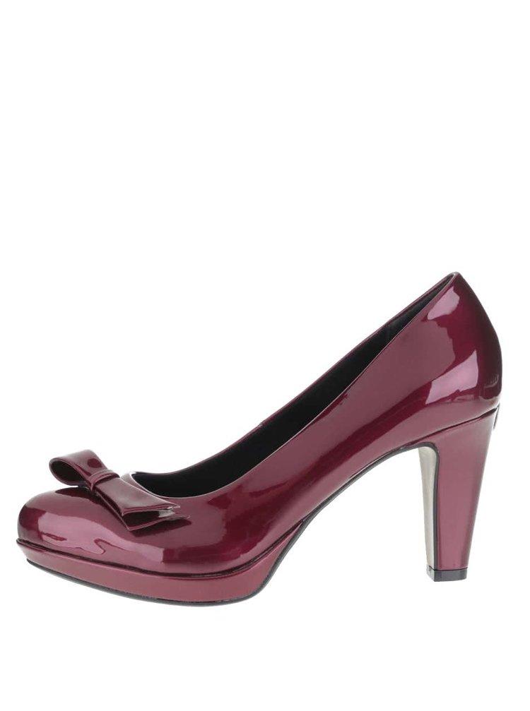 Pantofi cu toc bugatti Haven roșu burgundy cu fundă