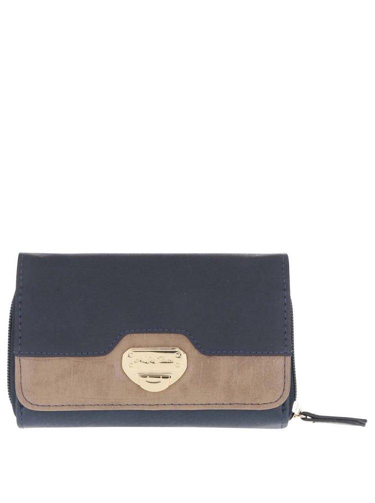 Tmavě modrá malá peněženka s hnědým detailem Andrea Bucci