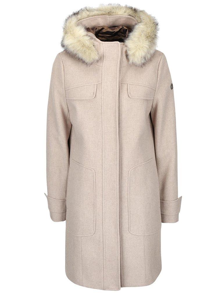 Béžový dámský vlněný kabát s kapucí bugatti