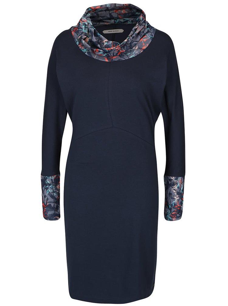 Tmavomodré šaty s netopierími a dlhými rukávmi Skunkfunk Erraimunde