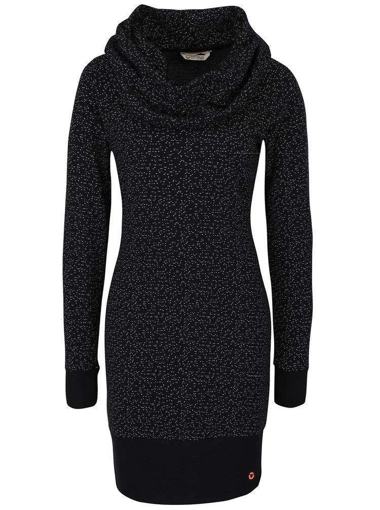 Černé vzorované šaty s límcem Skunkfunk Kalisha