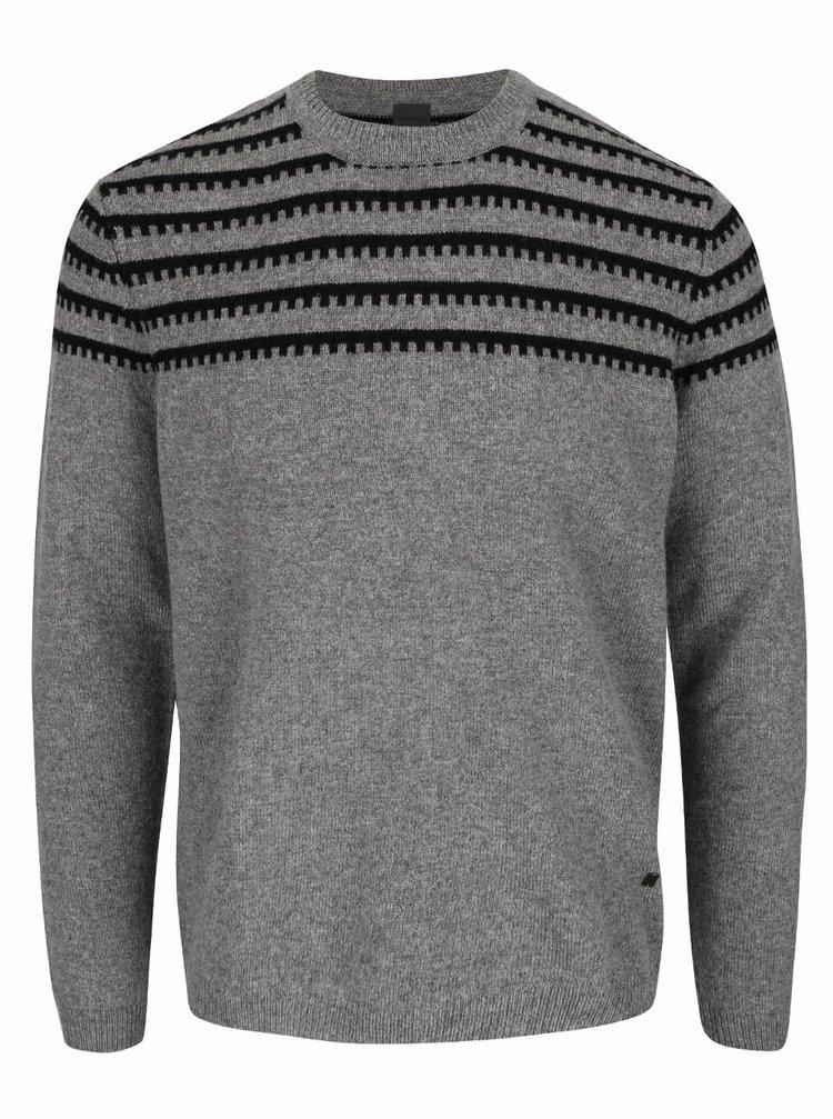 Sivý vlnený sveter s čiernym vzorom Bertoni Steen