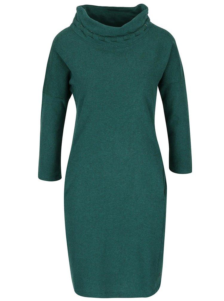 Tmavě zelené žíhané šaty s 3/4 rukávy Skunkfunk Ari