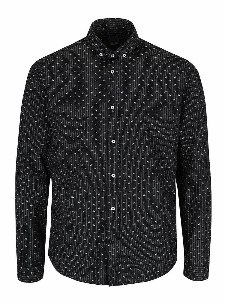 Čierna košeľa so vzorom Bertoni Malte