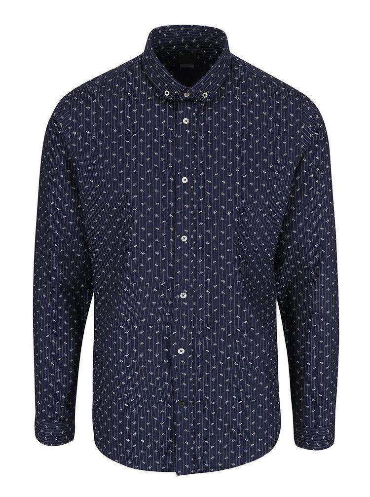 Tmavě modrá vzorovaná košile Bertoni Malte