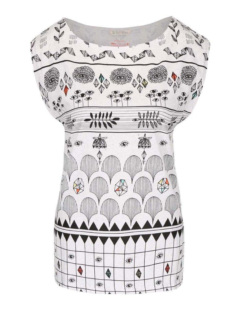 Krémové žíhané vzorované tričko Skunkfunk Julia