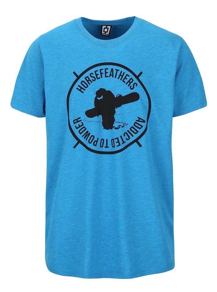 Modré melírované pánske tričko s potlačou Horsefeathers Atp