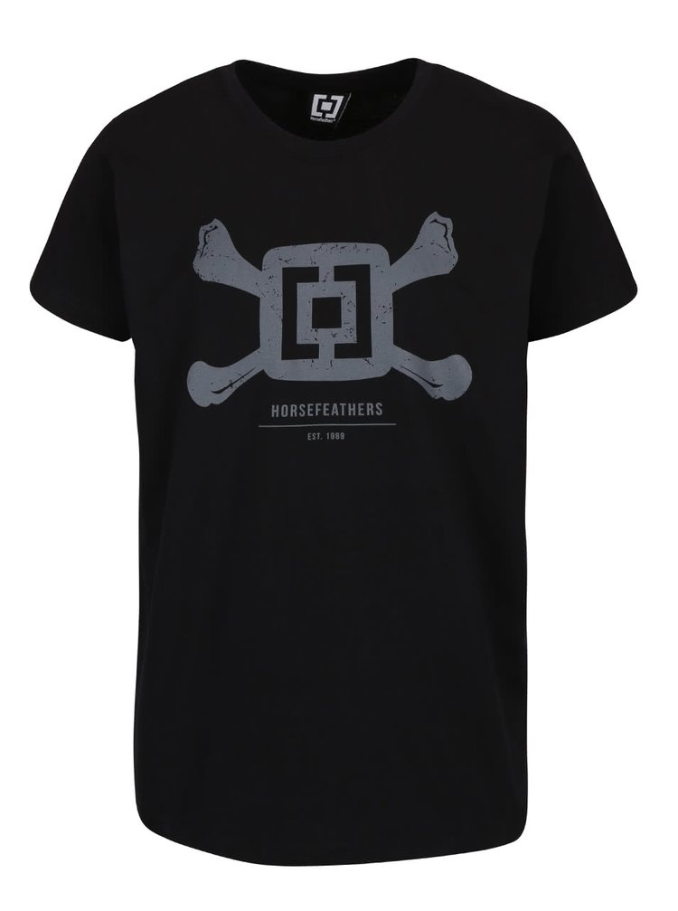 Čierne pánske tričko s potlačou Horsefeathers Bones