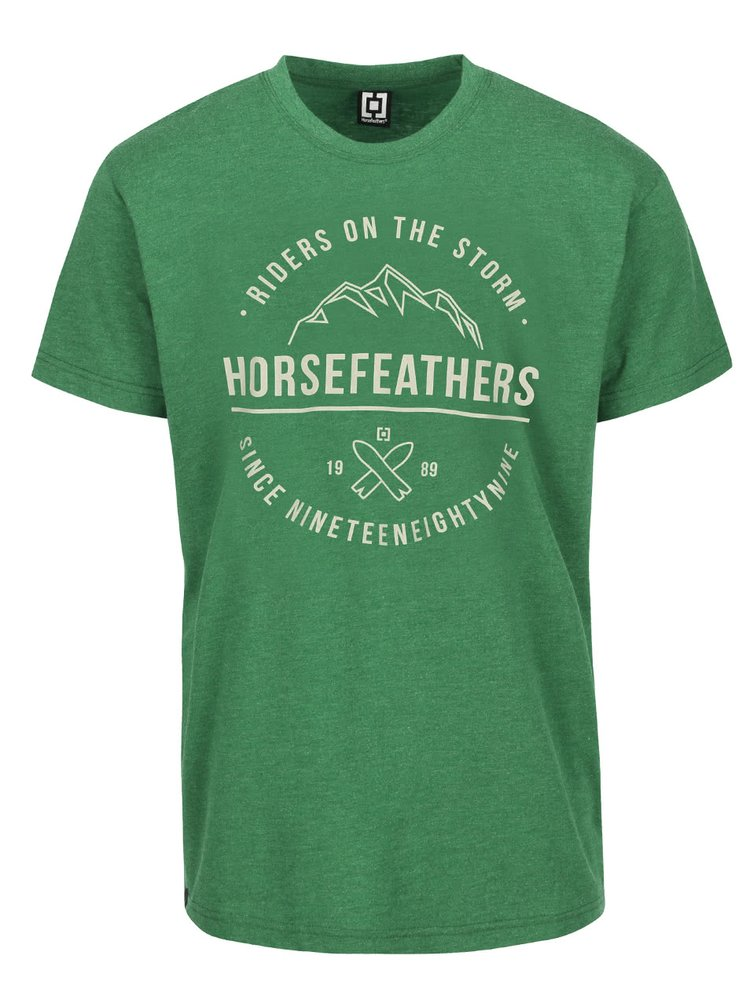 Tricou verde Horsefeathers Riders cu print