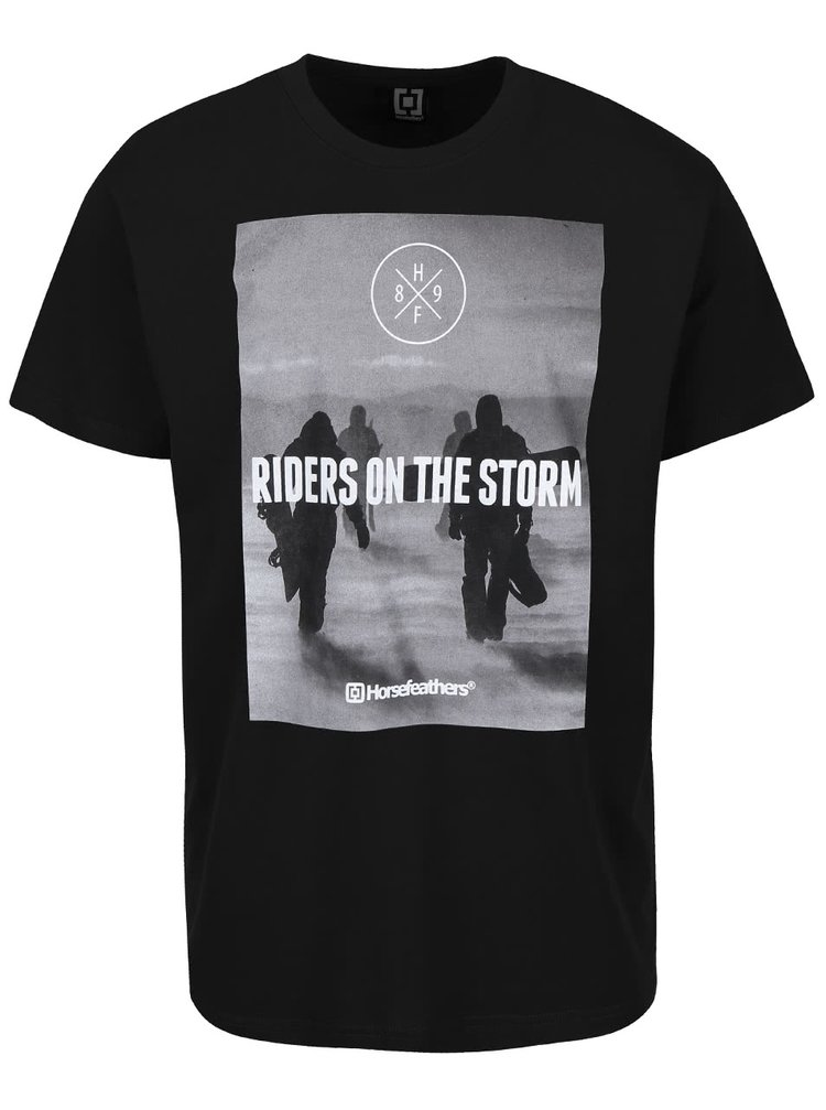 Tricou negru din bumbac Horsefeathers Snowstorm