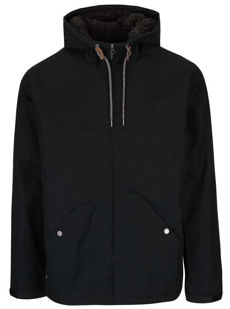 Čierna pánska bunda s kapucňou Quiksilver Wanna