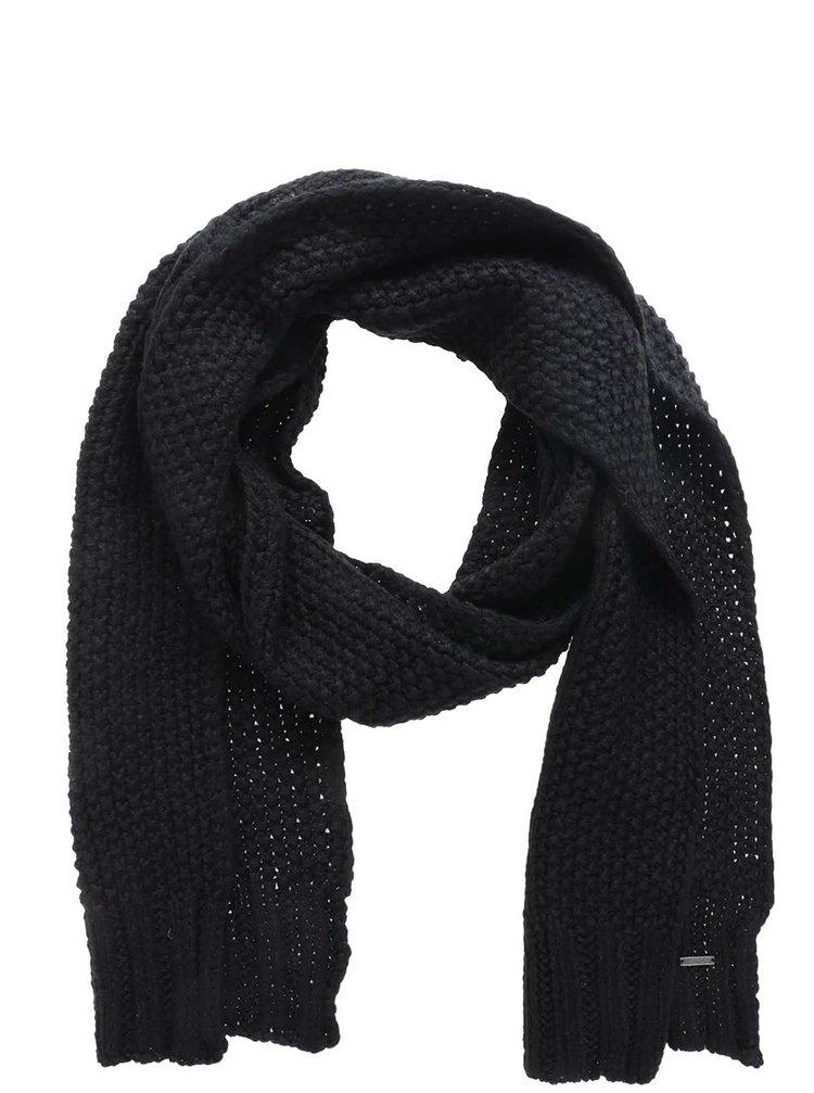 Fular negru Roxy Stay tricotat