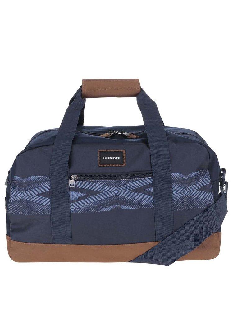 Hnědo-modrá pánská cestovní taška se vzorem Quiksilver Shelter