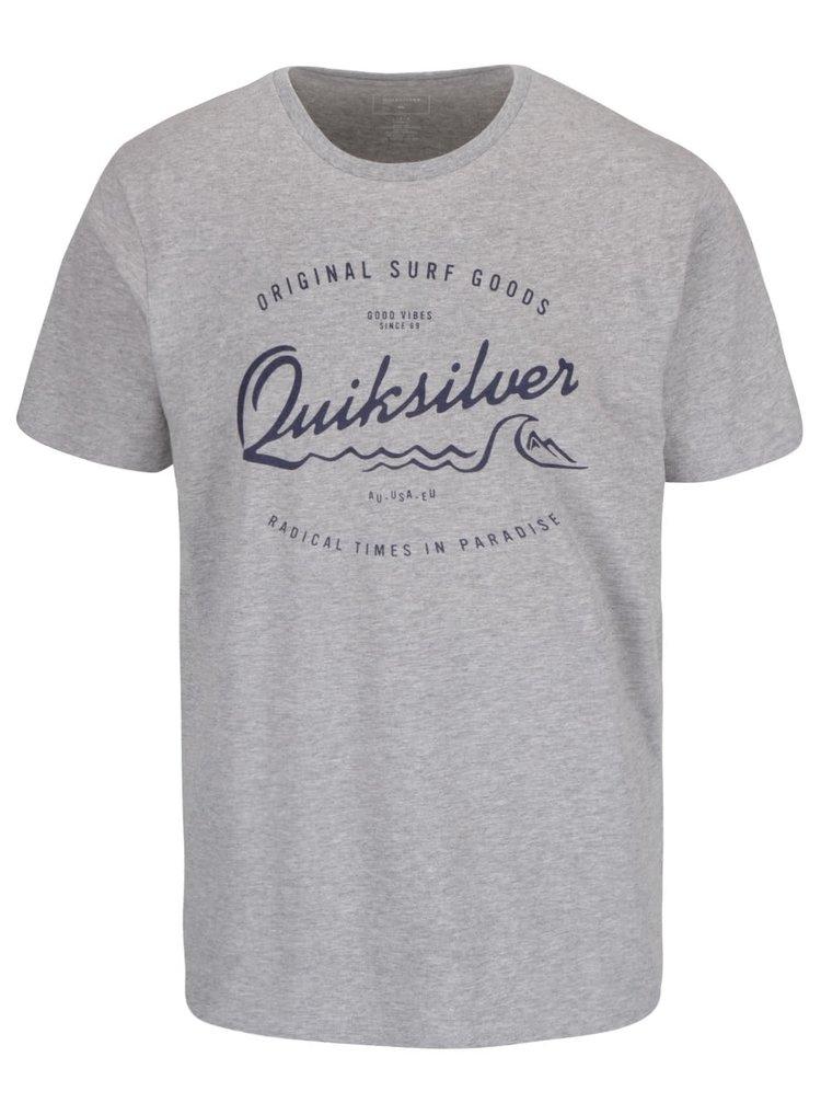 Svetlosivé pánske tričko s modrým nápisom Quiksilver Classteess Westp