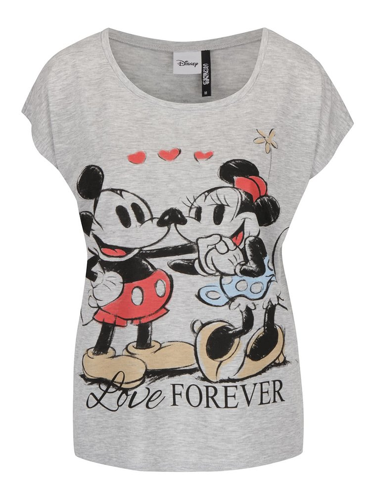 Šedé tričko s motivem Mickey Mouse Haily´s Kiss