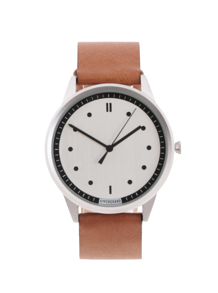 Pánske hodinky v striebornej farbe s hnedým koženým remienkom HYPERGRAND