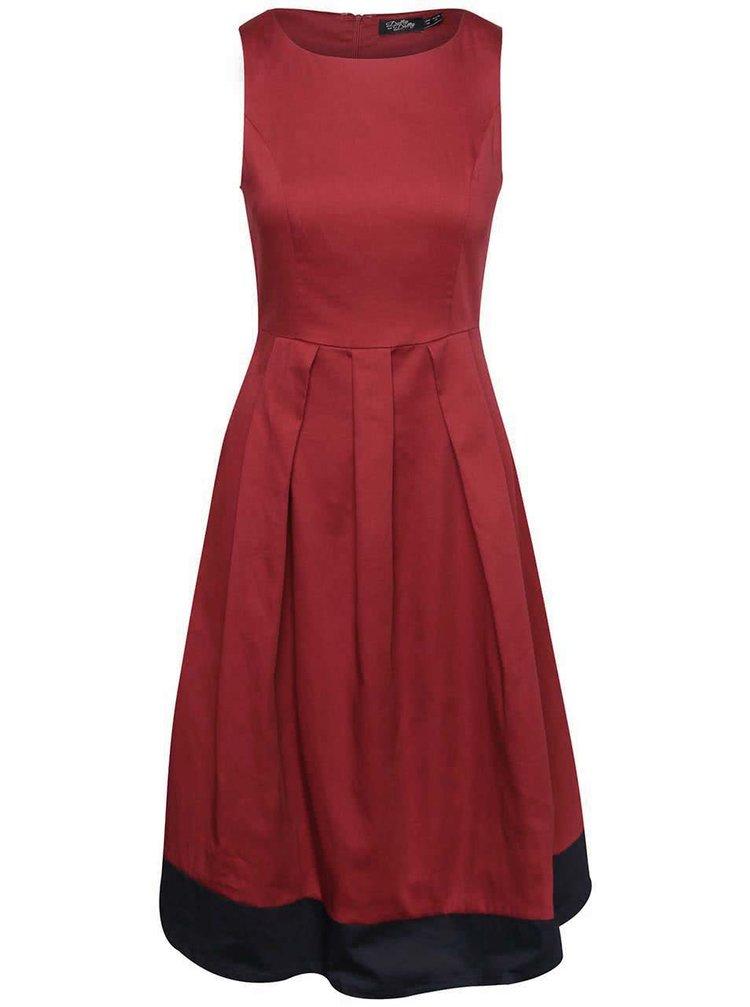 Vínové šaty s tmavomodrým lemom Dolly & Dotty Daphne