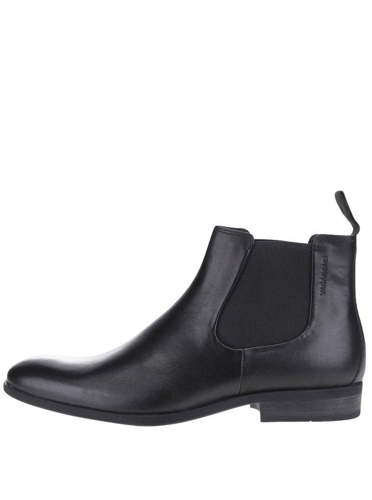 Černé pánské kožené kotníkové boty chelsea Vagabond Hustle