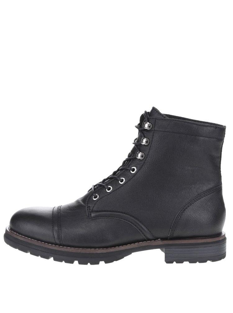 Čierne pánske kožené topánky so šnurovaním Vagabond Rodrigo