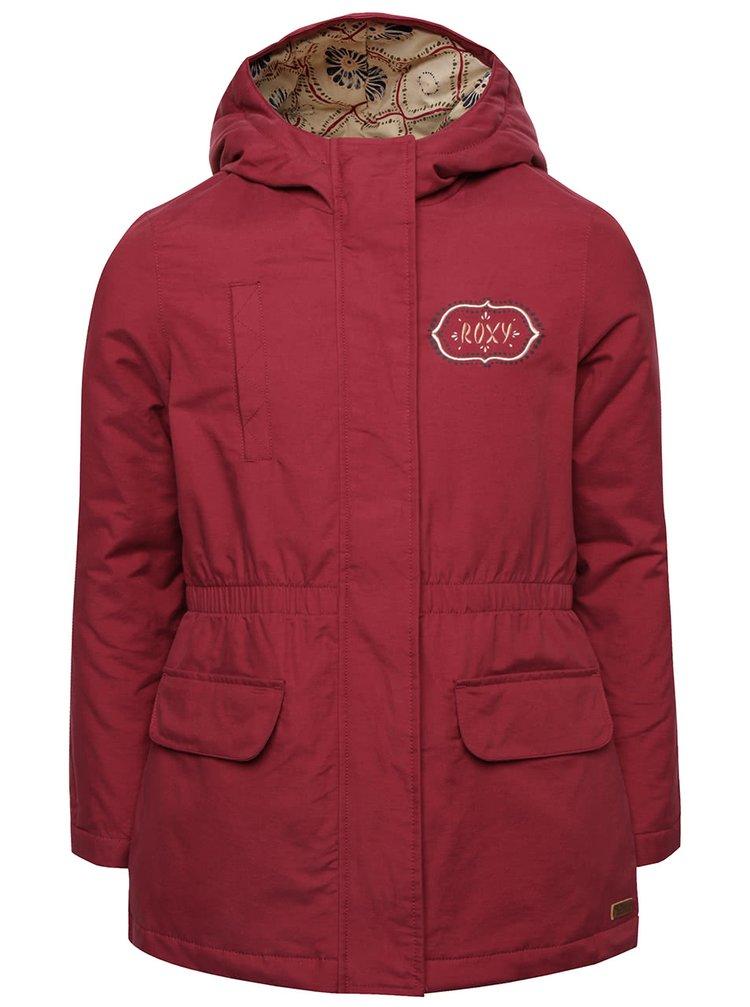 Vínový dievčenský kabát s nápisom Roxy