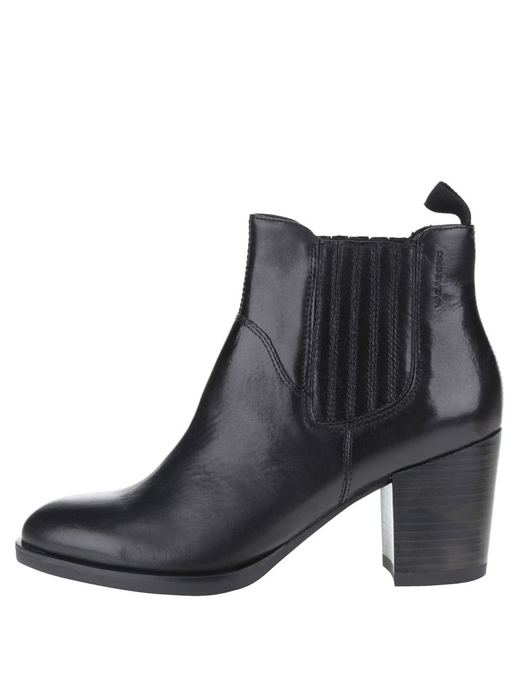Čierne kožené chelsea topánky na podpätku Vagabond Ellie