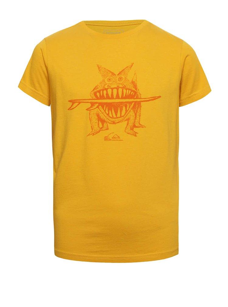 Žluté klučičí tričko s krátkým rukávem a potiskem Quiksilver