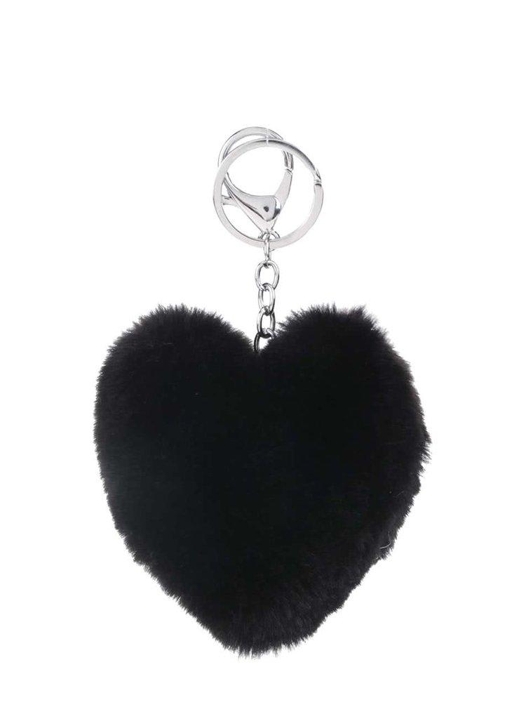 Černý přívěšek ve tvaru srdce Haily's Pompom