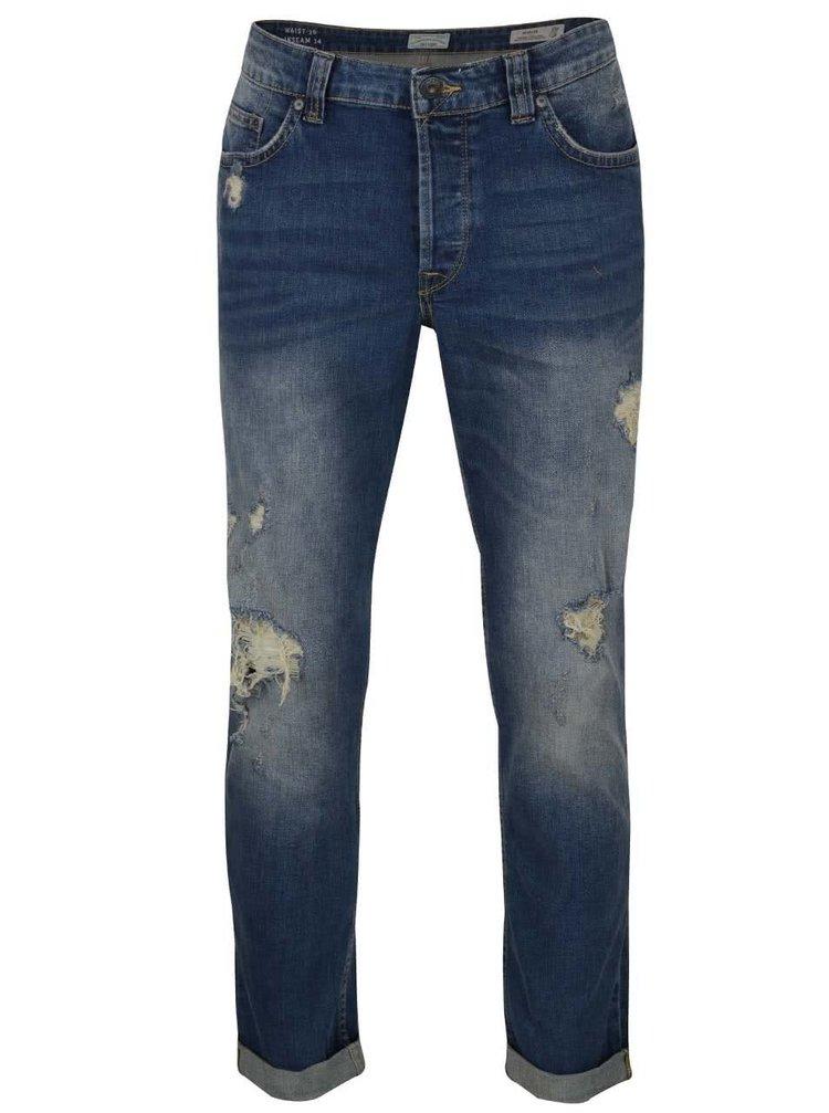 Modré regular džíny s potrhaným efektem ONLY & SONS Weft