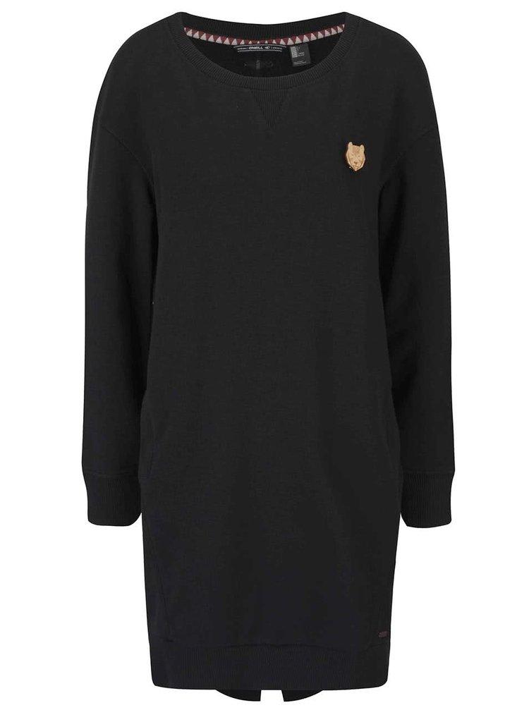 Čierne dámske mikinové šaty s dlhým rukávom O'Neill Sweat