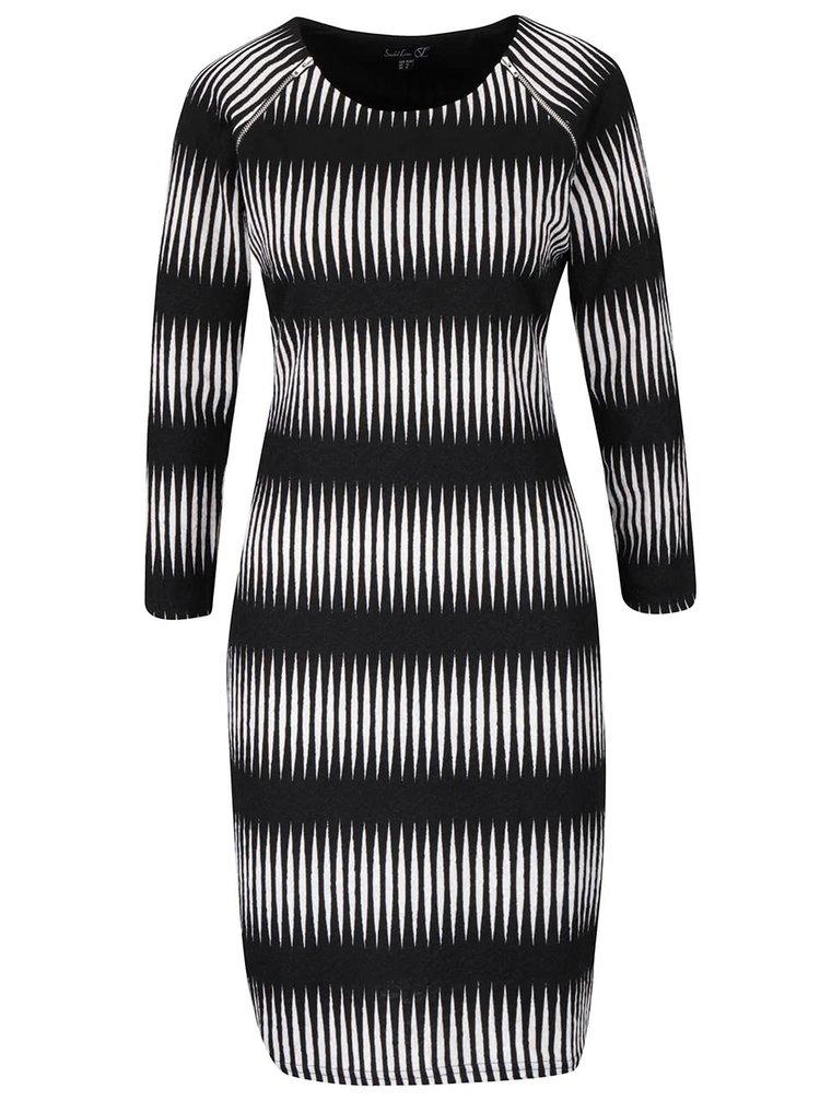Čierne vzorované šaty so zipsami a dlhými rukávmi Smashed Lemon