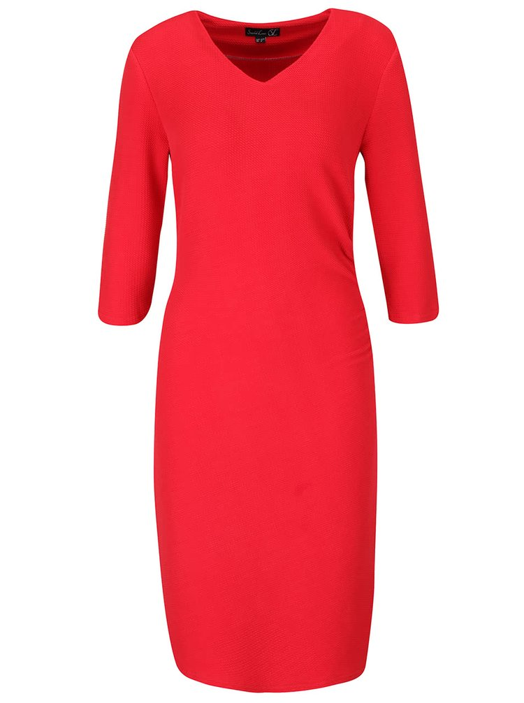 Červené šaty s véčkovým výstrihom a 3/4 rukávmi Smashed Lemon