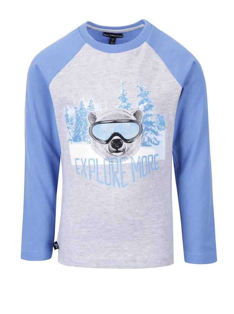Modro-šedé žíhané klučičí tričko s dlouhým rukávem Mix´n Match