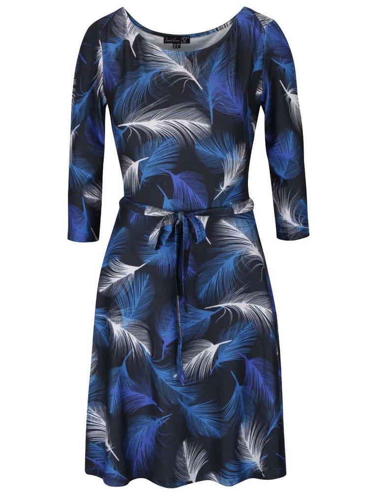 Modré šaty s páskem a potiskem pírek Smashed Lemon
