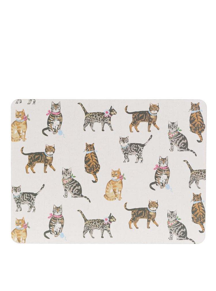 Súprava štyroch prestieraní v krémovej farbe s motívom mačičiek Cooksmart
