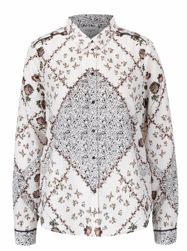 Krémová vzorovaná košeľa VERO MODA Lucypol