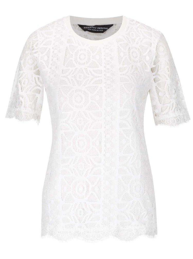 Krémové krajkové tričko Dorothy Perkins