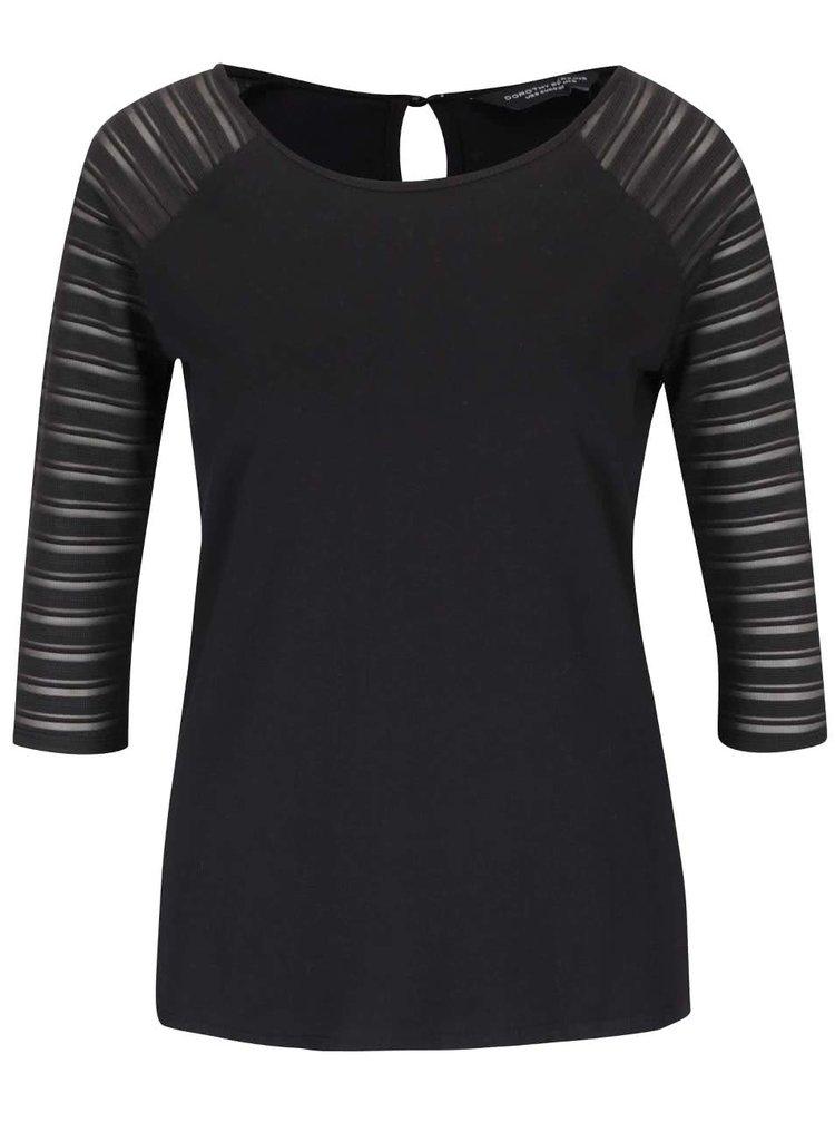 Černé tričko s 3/4 rukávy Dorothy Perkins