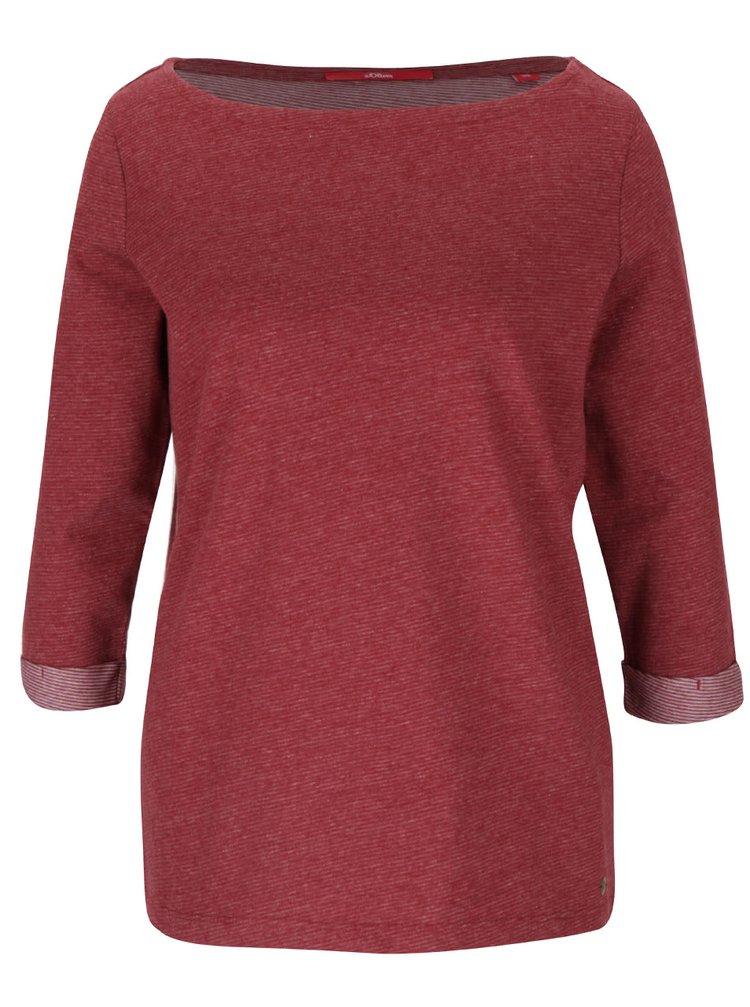 Vínové dámské pruhované tričko s tříčtvrtečním rukávem s.Oliver