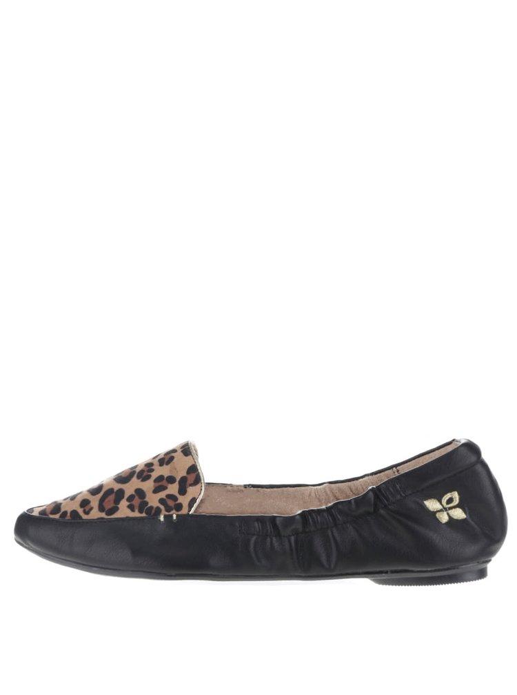 Černé baleríny s leopardím vzorem do kabelky Butterfly Twists Amber