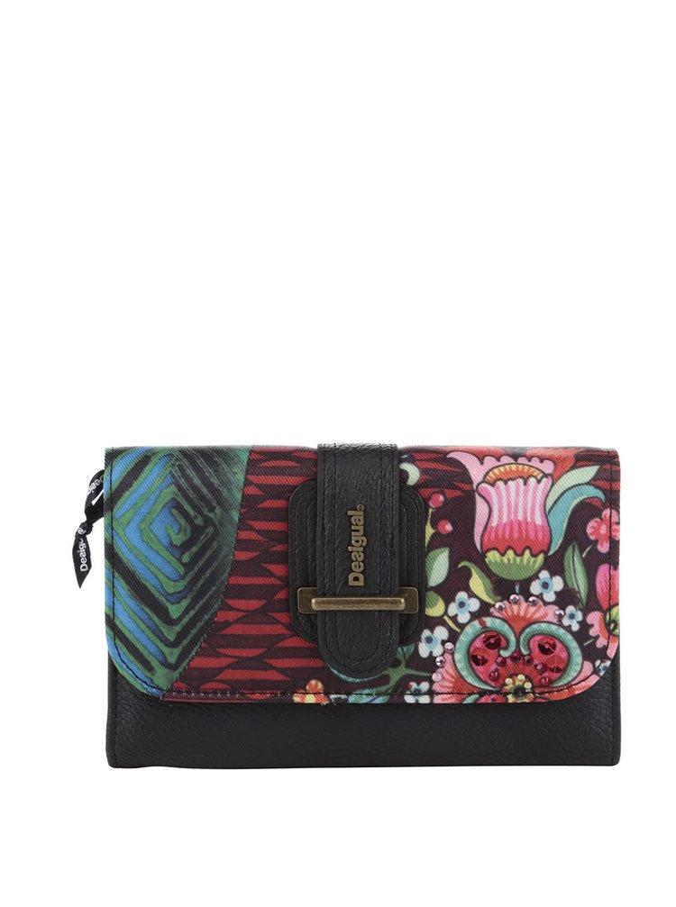 Čierna peňaženka s farebnou potlačou Desigual Lengüeta  Íkara