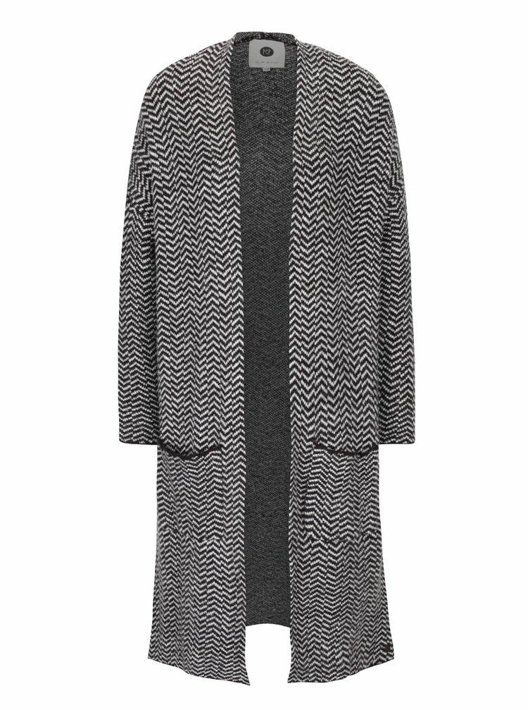 Šedo-černý dámský vzorovaný cardigan PEP Fawn