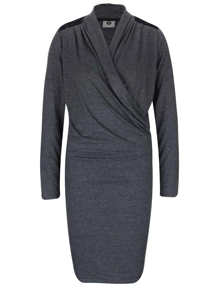 Sivé žíhané šaty s čipkovanými detailmi PEP Flame