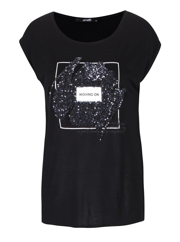 ab37db929f43 ... Černé dámské tričko s flitry Haily´s Grace